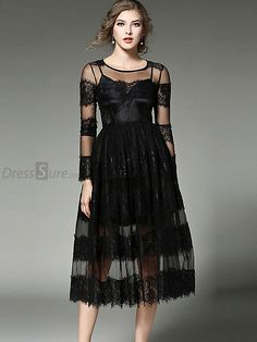 bc63c283566c Buy Fashion O-Neck Long Sleeve Perspective Lace A-Line Dress at DressSure.