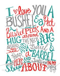 """Cute. For my """"library"""" wall upstairs. Bushel and a Peck - Red, Teal, Gray Vintage Text - 8x10 Illustrated Print by Mandipidy. $17.50, via Etsy."""