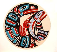 """Raven and Sculpin 129 of 200, a limited edition serigraph print by Eugene Hunt, Kwakwaka'wakw. Measuring 15"""" w. x 16"""" h. First Nations Art."""