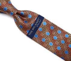 Steven Land Big Knot Brown Blue Neck Tie - 19846