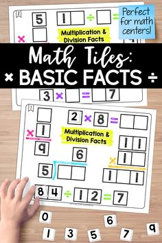 Math Tiles: Multiplication and Division Facts Multiplication And Division, Math Fractions, Activity Centers, Math Centers, Fourth Grade, Third Grade, Teaching Materials, Teaching Ideas, Teaching Critical Thinking
