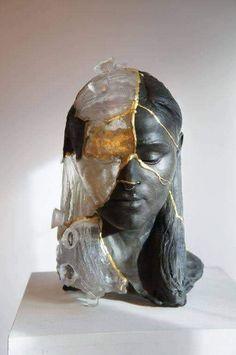 Kintsugi, Sculpture Head, Lion Sculpture, Ancient Japanese Art, Oriental, Comme Des Garcons, Stained Glass Art, Fused Glass, Ceramic Art