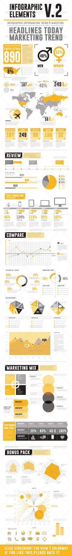 Infographic Elements V.2 The color scheme used is of a Modern and retro type but can be changed to anything to match your design preference. http://startupstacks.com/infographics/infographic-elements-v-2.html - free download