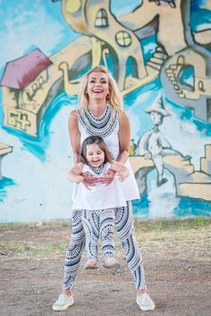 00c6153af1f Set of 4 Mommy and Me Outfits Bohemian Clothing Yoga Leggings