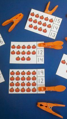 Pumpkin Count and Clip Cards  $   #pumpkins #fall #autumn #farm #kampkindergarten #clipcards https://www.teacherspayteachers.com/Product/Pumpkin-Palooza-Math-Centers-Numerals-to-20-2052337