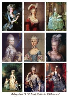 Digital Collage Sheet No 118 Marie Antoinette ATC Images 2.5 x 3.5 inches. $2.50, via Etsy.