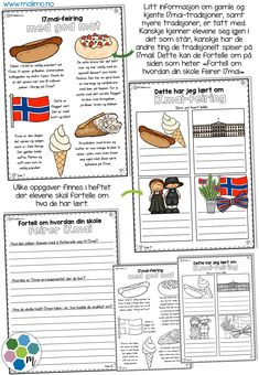 17.mai- nivådelte minibøker + A4-hefter • Malimo NO 17. Mai, Constitution Day, Party Entertainment, Elementary Education, Norway, Free Printables, Coloring Pages, Homeschool, Arts And Crafts
