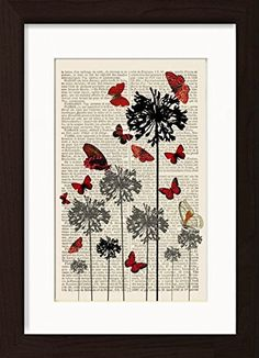Red Butterflies On Black And Grey Flowers Mounted / Matted Dictionary Art Print. Mounted /Matted and Printed on 1880's French Dictionary. The aging, slightly yellowed pages are carefully removed from the binding, and the image is carefully printed directly on the recycled paper using vibrant colour inks. Page Size 240mm x 155 mm / 6.5 x 9.5 inches. Mount Opening 140 mm x 220mm 5.5 x 8.75 inches. FRAME NOT INCLUDED. Every print comes with a mat/mount which means the final product is 297mm…