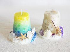 天然石と貝殻のキャンドル♪ |トウノミカのハンドメイドキャンドル Candels, Pillar Candles, Hurricane Candle, Candle Accessories, Homemade Candles, Candle Making, Candle Holders, Crafty, How To Make