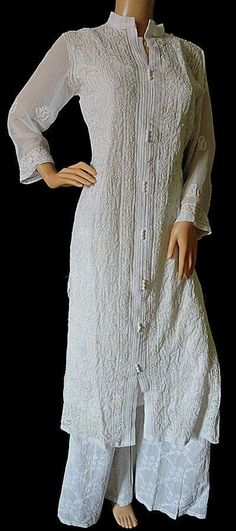 Chikankari kurta with resham work.