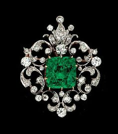 Green cushion cut vintage style brooch pin handmade sterling silver solid 925 #Handmade