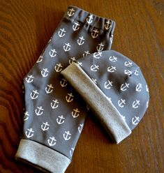 Baby Boy Gift Set - Hat Pant Combo - Organic Cotton Boy Clothing - Charcoal Grey Anchor Set