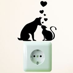 Wandtattoo Lichtschalter Steckdose Katze Hund von wandtattoo-loft via dawanda.com