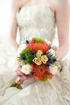 pop of color. I love this bouquet and this dress!
