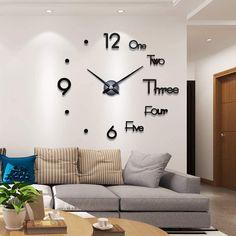 Wall Clock Kits, Wall Clock Sticker, 3d Wall Clock, Wall Clock Design, Unique Wall Clocks, Wall Stickers, Diy Wall Clocks, Rooms Home Decor, Living Room Decor