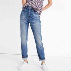 We updated our signature slim boyfriend fit with a higher rise (think a vintage men's jean cut to flatter you). The result? A cool new pair that beautifully blurs the weekend/weekday line. <ul><li>Monogramming available for US customers: To have this item embroidered with up to nine letters for $10 (free for Madewell Insiders), please call 866 544 1937.</li><li>Premium 98% cotton/2% elastane denim from Italy's renowned Candiani mill.</li&...