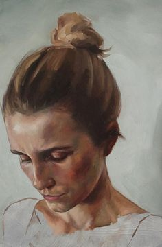 Artist: Scott Laufer, oil on panel {contemporary figurative art beautiful female head looking down woman face portrait painting} thisisnotscott.com
