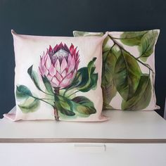 Protea pillow set, 2 any tropical Hand painted decorative pillow cover, Custom paint color by artist Pink Cushion Covers, Pink Cushions, Pillow Set, Pillow Shams, Protea Flower, Protea Art, Flowers, Colorful Curtains, Decorative Pillow Covers