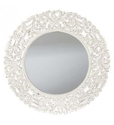 WOODEN WALL MIRROR IN ANTIQUE WHITE COLOR D-76 (3)