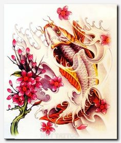 "Koi fish are the domesticated variety of common carp. Actually, the word ""koi"" comes from the Japanese word that means ""carp"". Outdoor koi ponds are relaxing. Hawaiianisches Tattoo, Tattoo Outline, Back Tattoo, Tattoo Eagle, Tattoo Neck, Tattoo Wolf, Tattoo Girls, Girl Tattoos, Bow Tattoos"