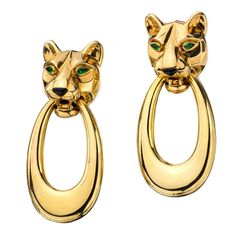 1stdibs - CARTIER Panther Head Door Knocker Yellow Gold Clip-On Earrings explore items from 1,700  global dealers at 1stdibs.com