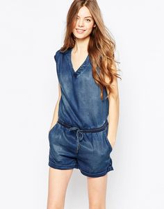 Ditto's Courtney Suplus Back Playsuit In Soft Denim