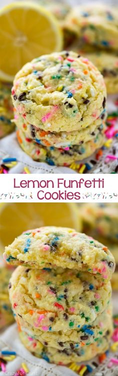 Lemon Funfetti Cookies are full of lemon and cake batter flavor...with sprinkles!