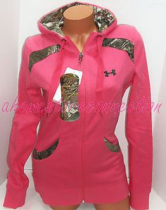 UNDER ARMOUR WOMENS PINK WITH REALTREE CAMO ACCENTS HUNTING HOODIE JACKET~M MD  I want this!!!!