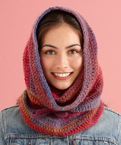 "Ravelry: ""Cozy Cowl Hood"" free crochet pattern by Lion Brand Yarn-3 skeins Lion Brand Amazing yarn, J hook"