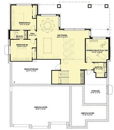 Rugged Craftsman With Drop-Dead Gorgeous Views In Back - floor plan - Optionally Finished Lower Level Lake House Plans, Mountain House Plans, Best House Plans, Craftsman House Plans, Dream House Plans, Cabin Plans, Shed Plans, House Floor Plans, Basement Floor Plans