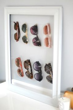 With sunny weather ahead of us, what better way to store your shades than on this clever homemade display?