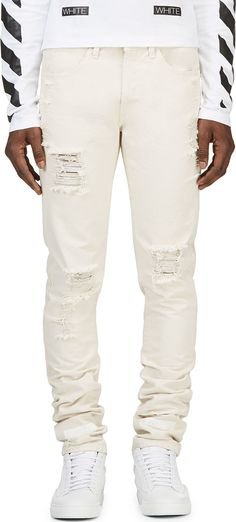 Off-White 'Diagonal Spray' slim-fit jeans | Mens Slim Jeans ...