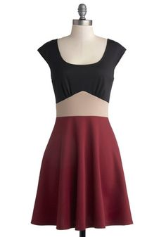 Fundamental Finesse Dress - Mid-length, Knit, Red, Tan / Cream, Black, Casual, A-line, Cap Sleeves, Good, Scoop, Colorblocking