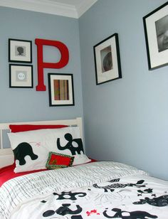 Boys room Love the pale blue and bright red
