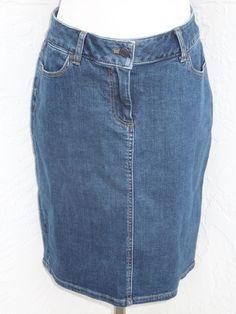 Talbots size 6P petite blue denim stretch solid knee length jean skirt NEW  #Talbots #Straight