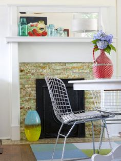 Love mason jars? Display your collection on a fireplace mantel! More inspiration: http://www.bhg.com/decorating/fireplace/styles/fireplace-designs/