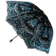 Sunny World Ladies UV Protected Parasol Two Folding Anti-UV Sun Umbrella Fashion Sequin Flowers Lace Embroidery (Black blue)
