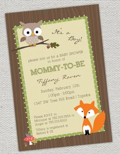 Woodland Animals Baby Shower Invitation by jenrikdesigns on Etsy, $15.00
