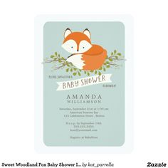 Sweet woodland fox baby shower invitations, perfect for a woodland animals themed baby shower.