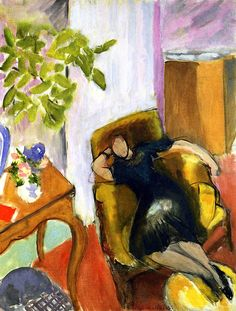 Ritratto di una ragazza vestita di nero seduta in una poltrona gialla di Henri Matisse 1935