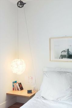 Hängende Nachttischlampe Dekoration minimalisches Schlafzimmer