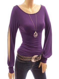 Patty Women Stylish Round Scoop Neck Slit Bishop Long Sleeve Casual Party Blouse Top (Purple L) Patty, http://www.amazon.com/dp/B00ADHGKNQ/ref=cm_sw_r_pi_dp_lOKTqb0TTH16B