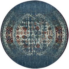 Safavieh Monaco Vintage Distressed Blue/ Ivory Distressed Rug (6' 7 Round) | Overstock.com Shopping - The Best Deals on Round/Oval/Square