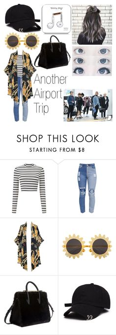 """Airport Style 2"" by olivia-anece ❤ liked on Polyvore featuring Miss Selfridge, Lenny, H&M, Strathberry and Happy Plugs"