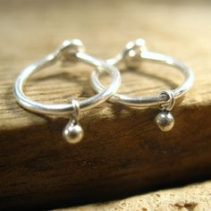 Little Hoop Earrings Bud Dangles Sterling Silver by MysticMoons, $14.00