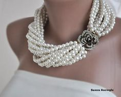 Chunky Layered Ivory Pearl Necklace with by HMbySemraAscioglu, $148.00