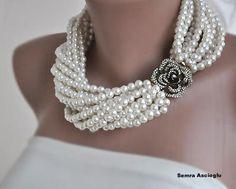 Grueso capa marfil collar de perlas con las por HMbySemraAscioglu, $148.00