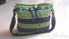 -Crochet Bag - Stripes in Lime Green and Dark Grey -
