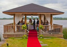 Marriage ceremony in he Wineport Lodge pavilion Civil Ceremony, Blue Books, Pavilion, Perfect Wedding, Gazebo, Ireland, Wedding Venues, Marriage, Outdoor Structures