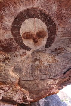 Aboriginal Rock Art The Kimberley, Western Australia,image of The Wandjina  - cloud and rain spirits from Australian Aboriginal mythology